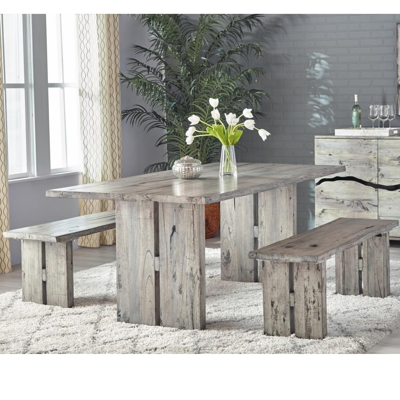 Napa Furniture Designs Renewal By Napa Rustic Dining Set With Table And 2  Benches