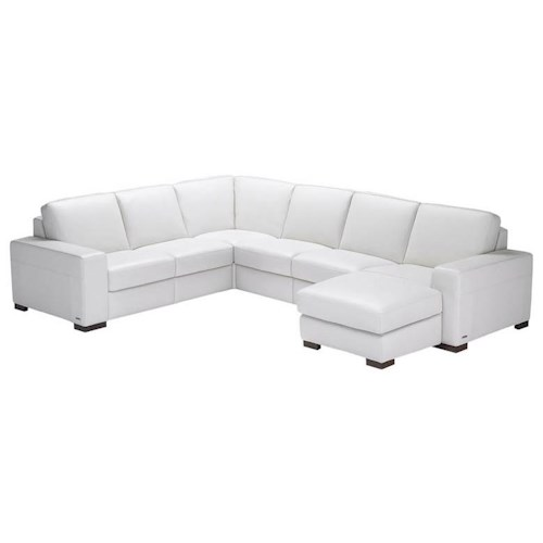 Natuzzi Editions A397 4 Piece Leather Reclining Sectional Sofa with RAF Chaise