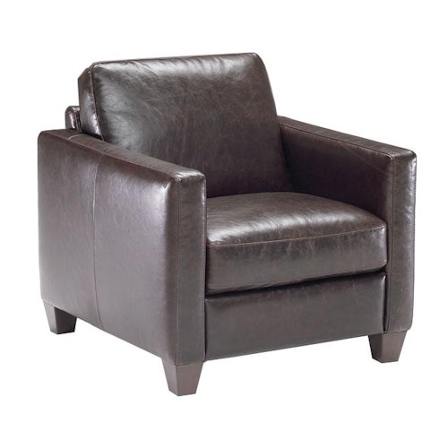 Natuzzi Editions B591 Contemporary Leather Chair with Track Arms and Tapered Feet