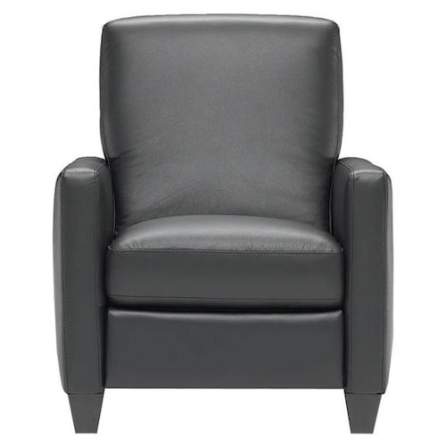 Natuzzi Editions B591 Contemporary Leather Recliner with Tapered Wood Legs