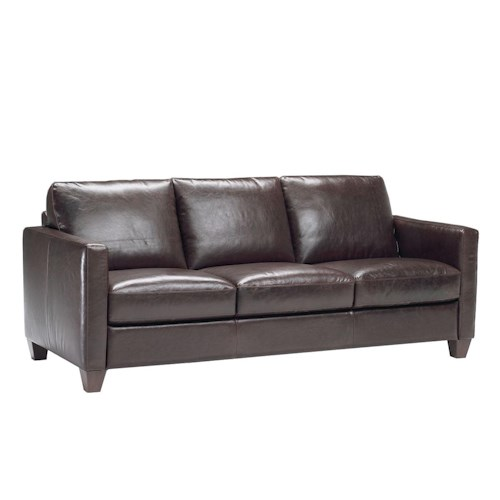 Natuzzi Editions B591 Contemporary Leather Sofa with Track Arms and Tapered Feet