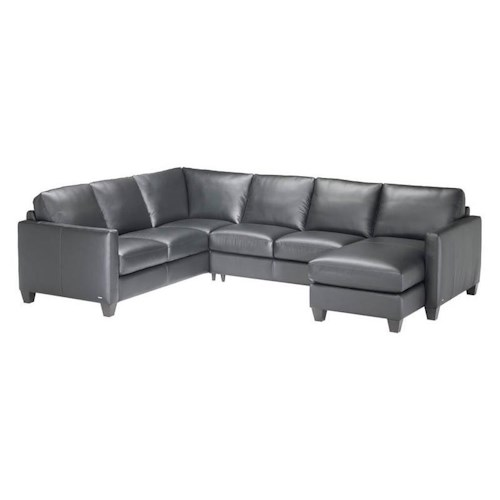 Natuzzi Editions B591 3 piece Contemporary Leather Sectional with RAF Chaise