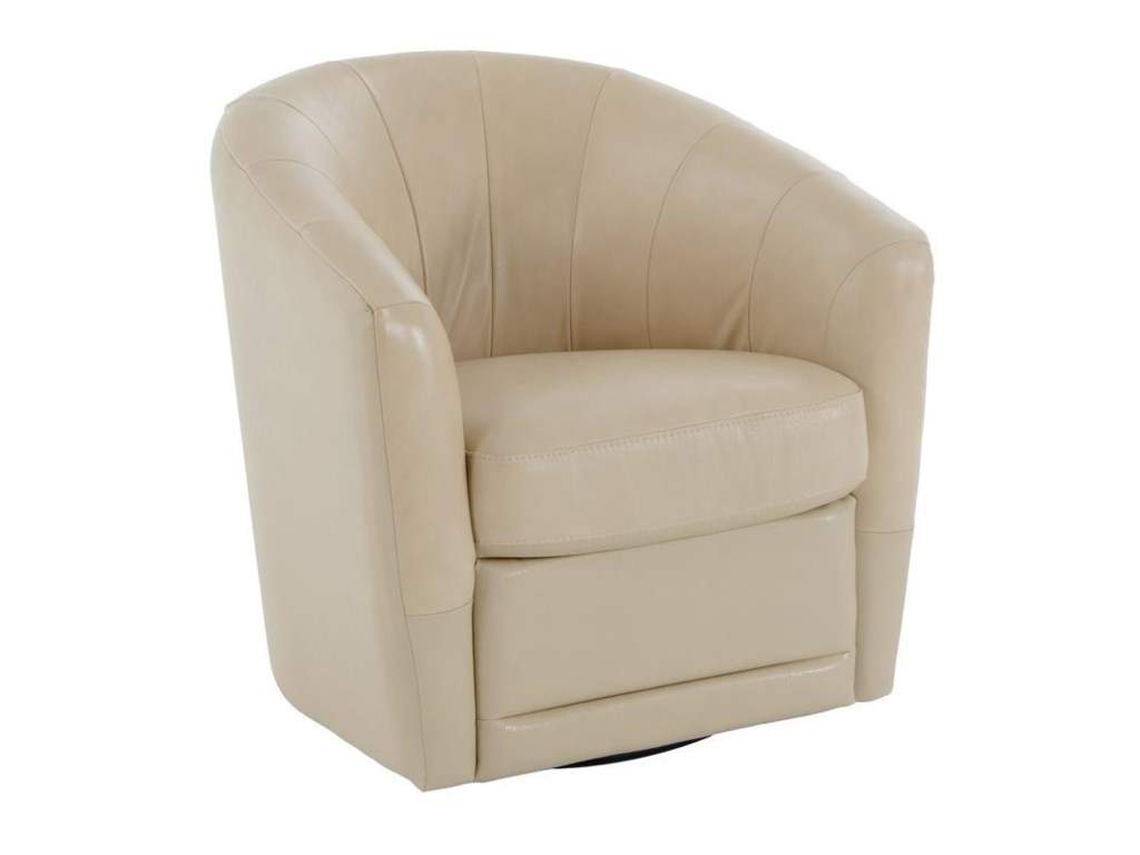 Natuzzi Editions B596swivel Chair Shown In Beige Leather
