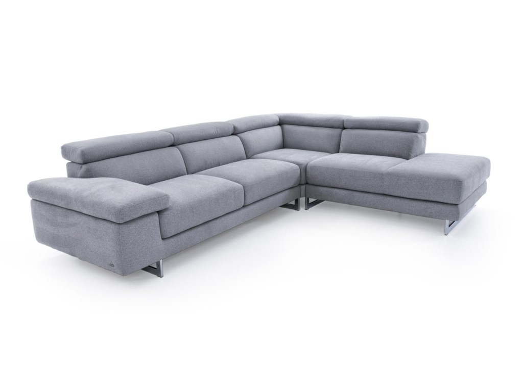 Natuzzi Editions B619 Sect B619 Gray Three Piece Sectional Sofa with ...
