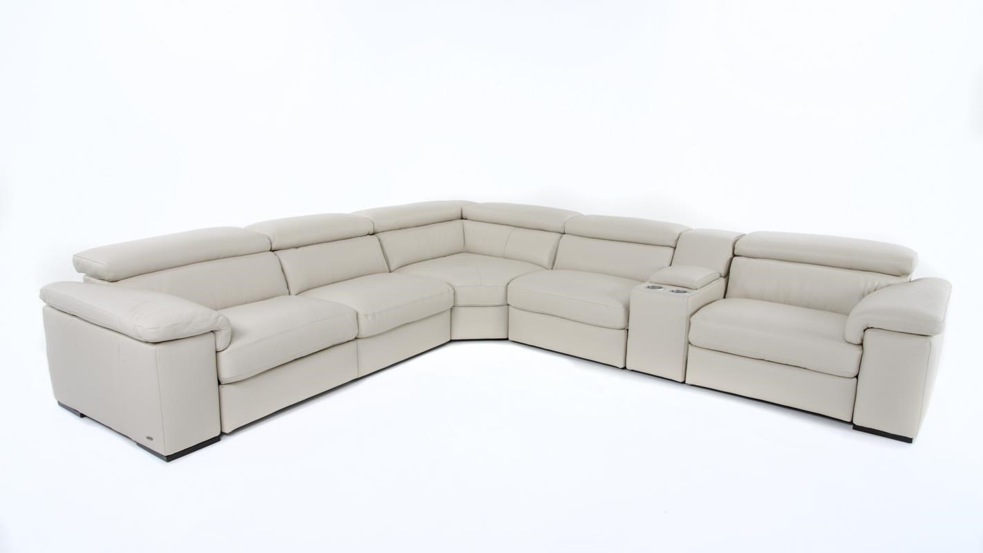 Natuzzi Editions B620 Six Piece Power Reclining Sectional With Cupholders  And Adjustable Headrests