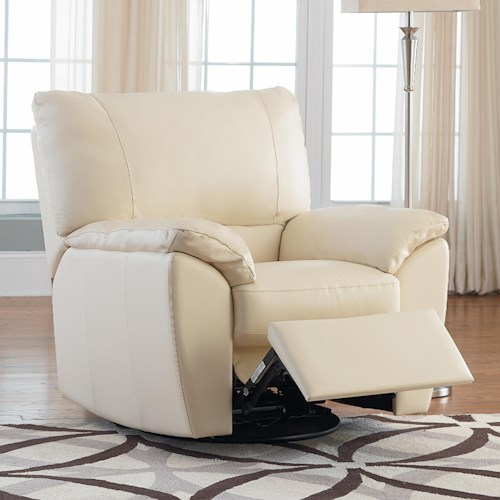 Natuzzi Editions B632 Leather Reclining Chair With Pillow Arms