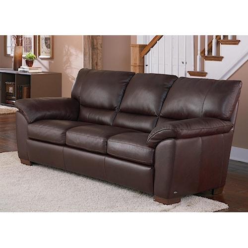 Natuzzi Editions B632 Leather Pillow Arm Sofa