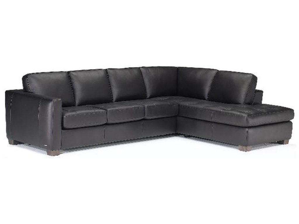 Natuzzi Editions B633 Transitional Leather Sectional Sofa With Tufted Seats And Raf Chaise