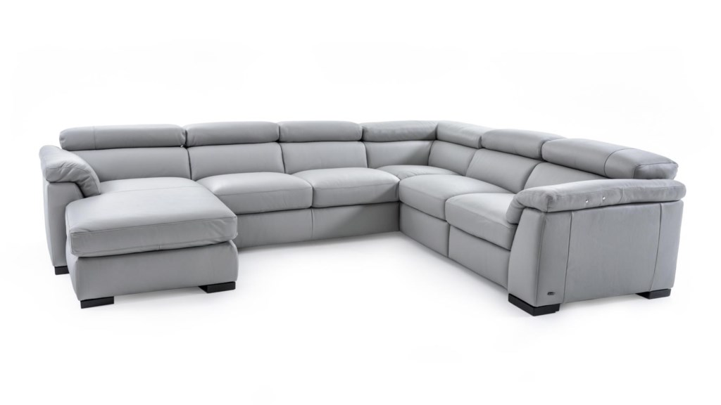 Natuzzi Editions B634 B634 Sect 1 Gray Contemporary Leather