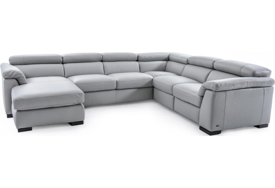 Natuzzi Editions Tommaso B634 Sect 1 GRAY Contemporary Leather Sectional Sofa With LAF Chaise And RAF Power Recliner | Baer