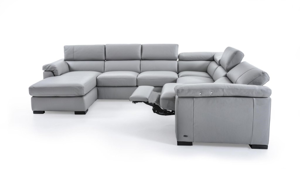 Natuzzi Editions B634 Contemporary Leather Sectional Sofa with LAF