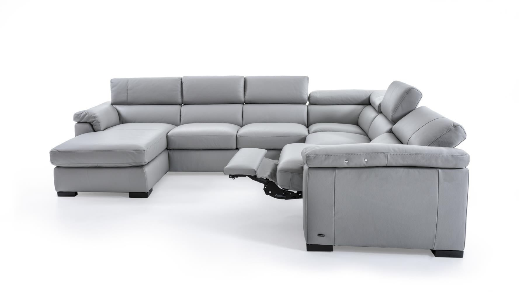 Natuzzi Editions B634 Contemporary Leather Sectional Sofa With LAF Chaise  And RAF Power Recliner