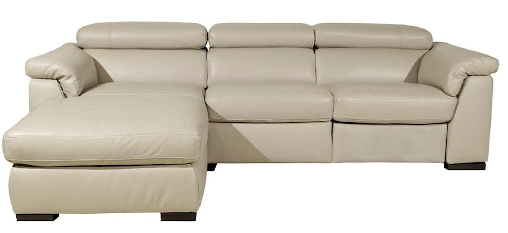 Natuzzi Editions B634 Contemporary Chaise Sofa With Power Recline  ~ Contemporary Chaise Sofa