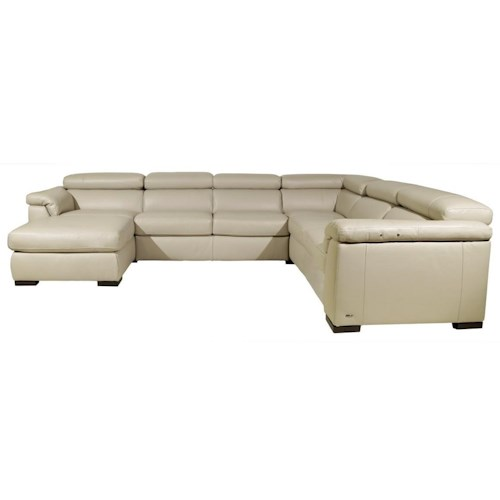 Natuzzi editions b634 contemporary leather sectional sofa with laf chaise and raf power recliner - Contemporary furniture sectional and a sectional sofa ...
