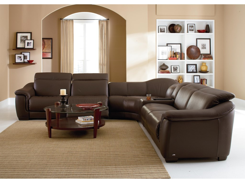 Natuzzi Editions B641Reclining Sectional with Speakers