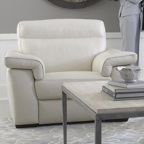 Natuzzi Editions B757 Contemporary Stationary Chair and a Half with Padded Headrests and Block Feet