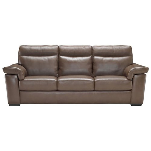 Natuzzi Editions B757 Contemporary Stationary Sofa with Padded Headrests and Block Wood Feet