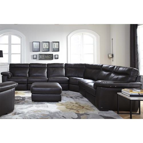 Natuzzi Editions B757 Four Piece Power Reclining Sectional Sofa with Padded Headrests