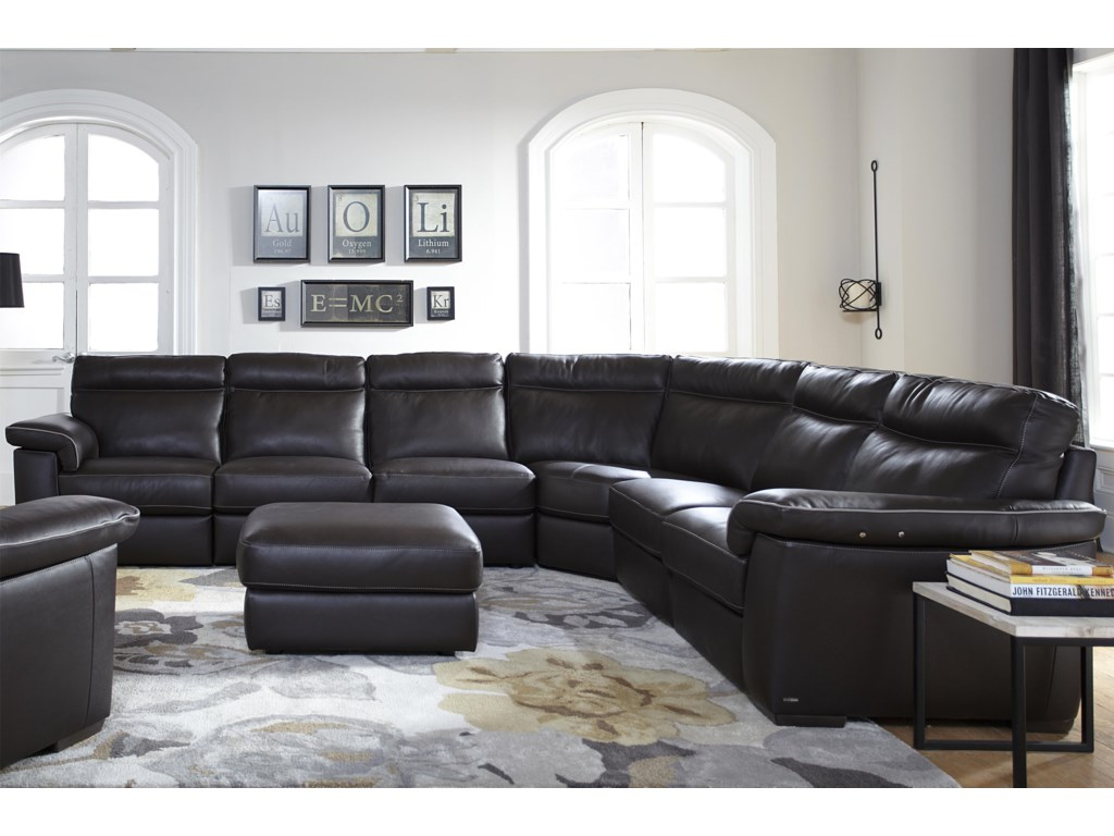 Natuzzi Editions B757 Four Piece Power Reclining Sectional Sofa with ...