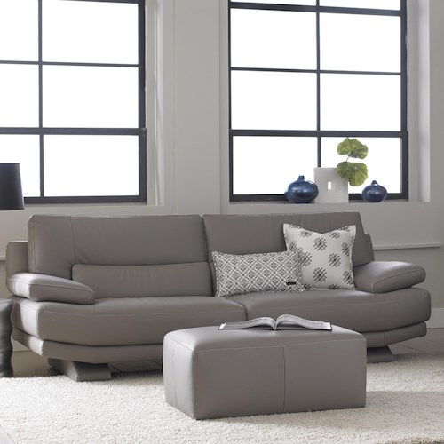Natuzzi Editions B803 Contemporary Sofa with Lumbar Support and Futuristic Front-to-Back Legs