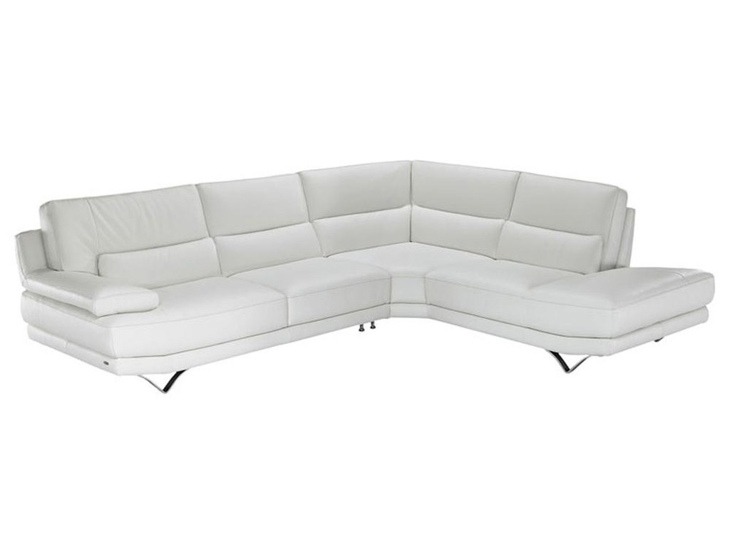 Natuzzi Editions B803 Contemporary L Shaped Sectional Sofa With Lumbar Support Futuristic Metal Legs And Right Chaise Seat