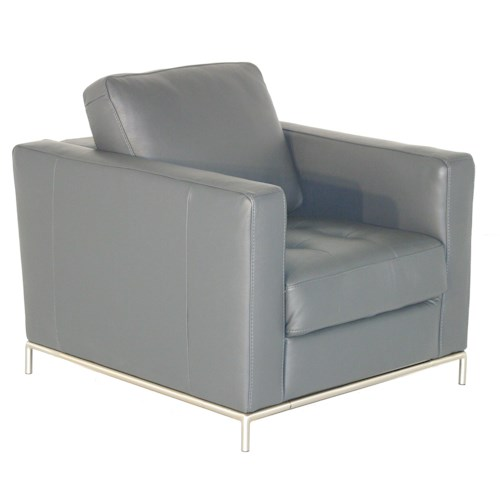 Natuzzi Editions B805 Contemporary Chair with Button-Tufted Seat and Metal Legs