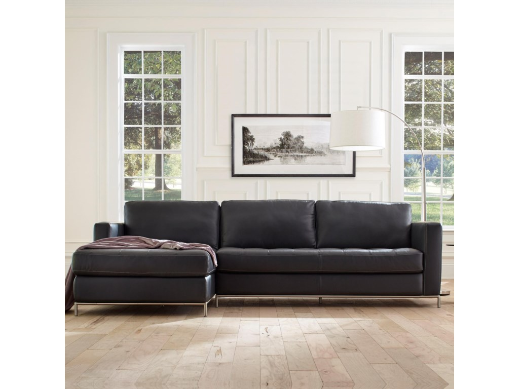 Natuzzi Editions B805 Left Arm Facing Sofa Chaise with Button-Tufted ...