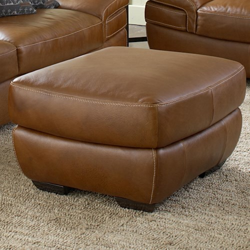 Natuzzi Editions B806 Contemporary Ottoman with Block Legs and Contrast Stitching