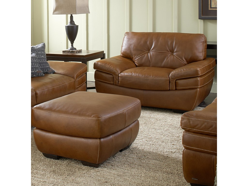 Natuzzi Editions B806 Contemporary Chair and Ottoman Set with ...