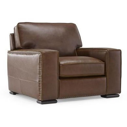 Natuzzi Editions B858 Leather Chair w/ Track Arms