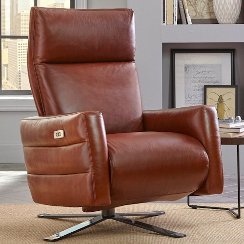 Natuzzi Editions B958 Contemporary Battery Pack Recliner With Metal Pedestal Base
