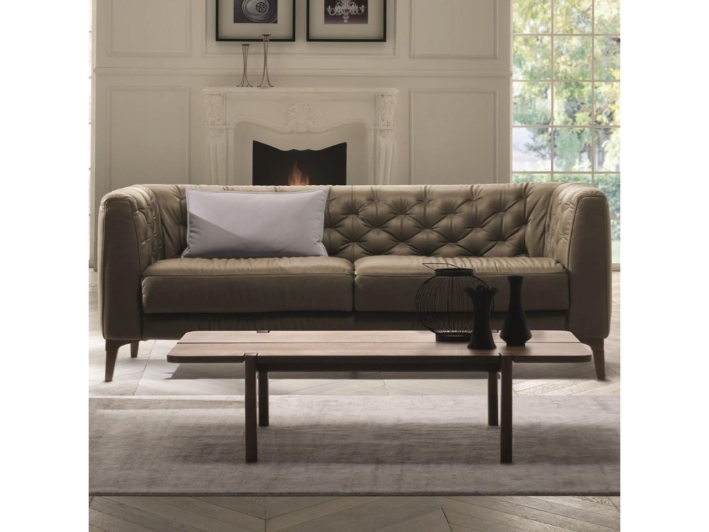 25985afed6b6 Natuzzi Editions Rodolfo Mid-Century Modern Apartment Sofa with Tuxedo  Track Arms