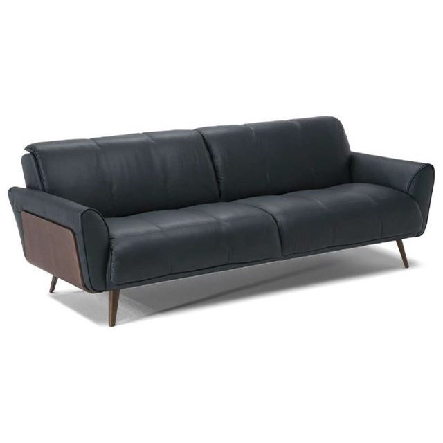 Tobia mid century modern sofa with wood panel sides by natuzzi editions