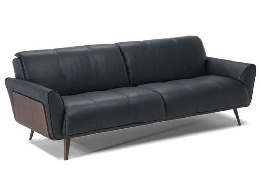 Natuzzi Editions Tobia Mid-Century Modern Sofa with Wood Panel Sides ...
