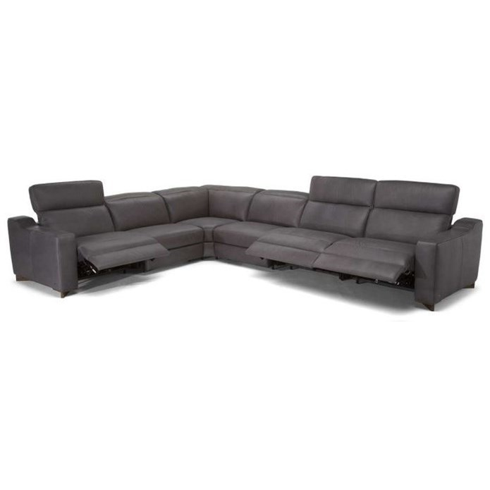 Natuzzi Editions Zaccaria Contemporary Power Reclining Sectional Sofa With  Adjustable Headrests