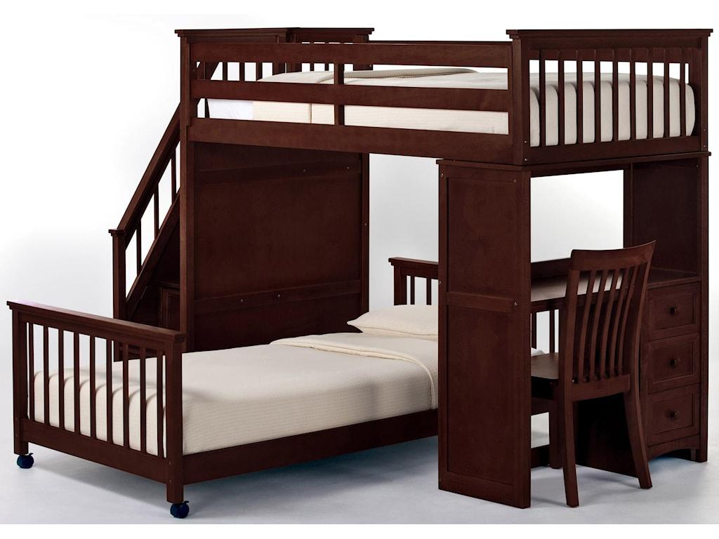 NE Kids School HouseTwin Lower Stair Loft Bed