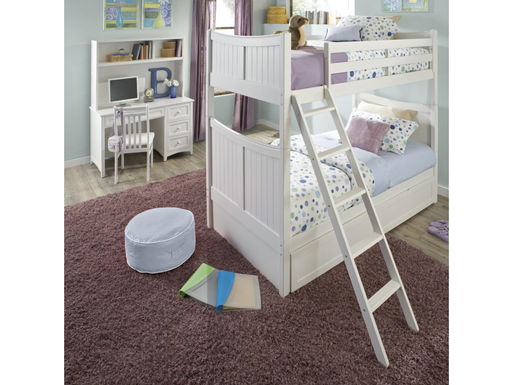 Shown in Room Setting as Bunk Bed with Desk, Hutch and Chair