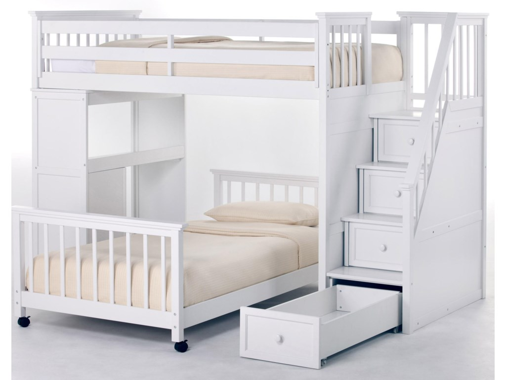 NE Kids School House Twin Stair Loft Bed w/ Lower Bed | Pilgrim ...