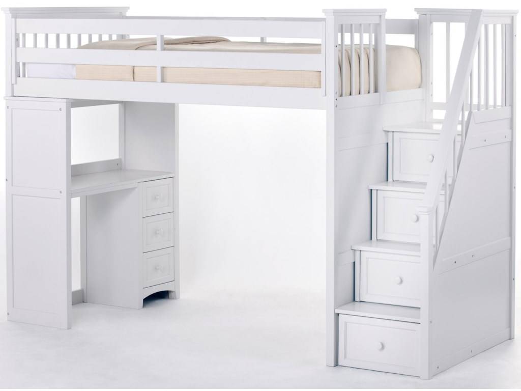 Bunk bed with stairs and desk - Ne Kids School House Stair Loft Bed W Desk Becker Furniture World Loft Beds