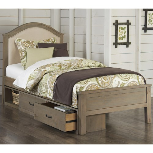 NE Kids Highlands Twin Bailey Bed with Cream Upholstered Headboard and Under Bed Storage