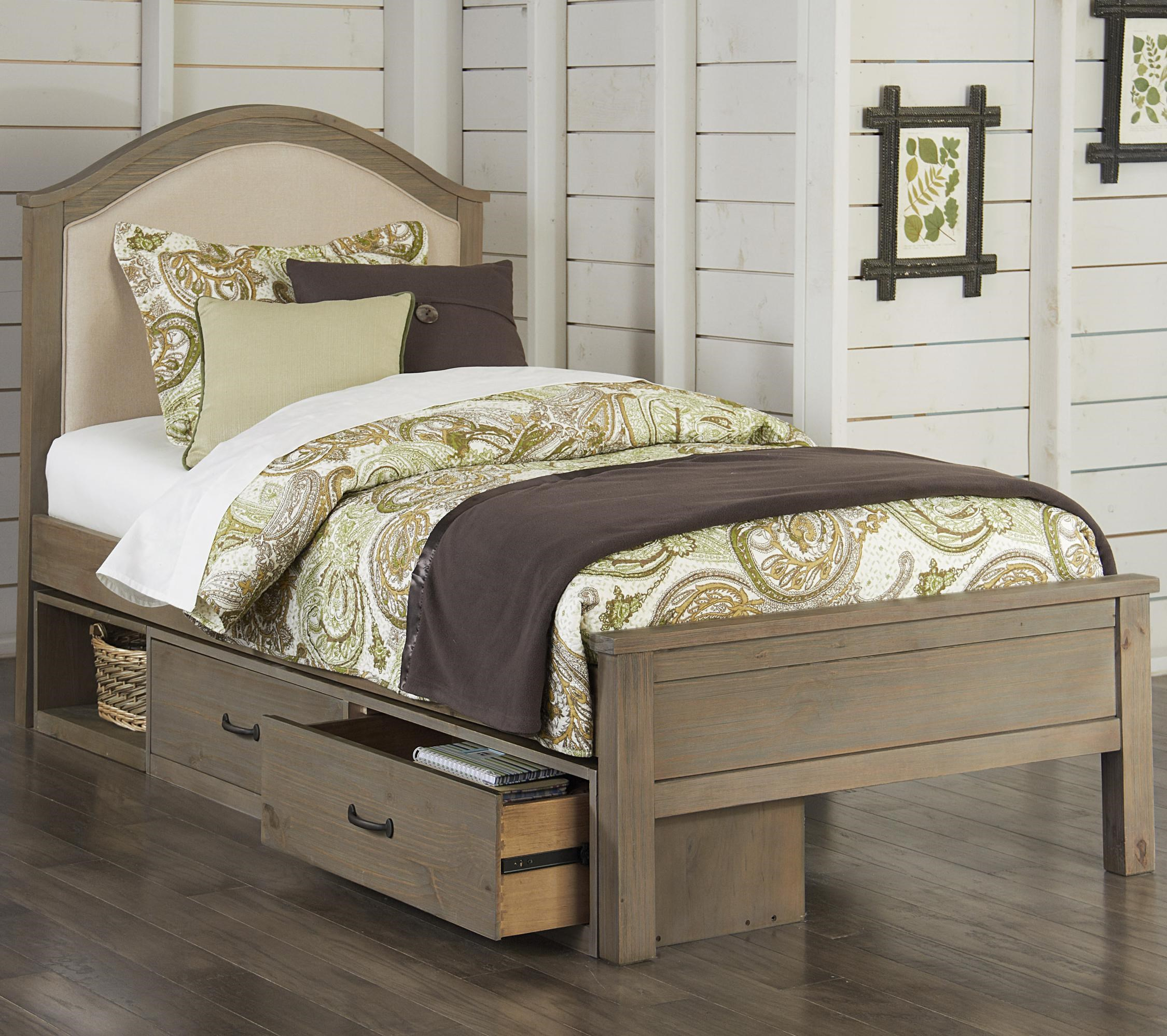 Genial NE Kids Highlands Twin Bailey Bed With Cream Upholstered Headboard And  Under Bed Storage