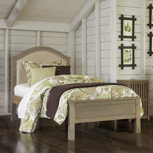 NE Kids Highlands Twin Bailey Arch Bed with Cream Upholstered Headboard