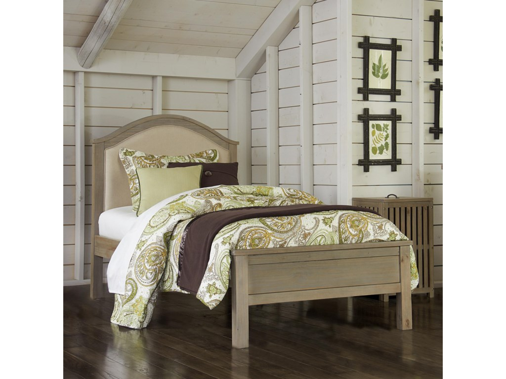 NE Kids Highlands Twin Bailey Arch Bed with Cream Upholstered ...