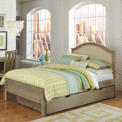 NE Kids Highlands Full Bailey Bed with Cream Upholstered Headboard and Under Bed Trundle