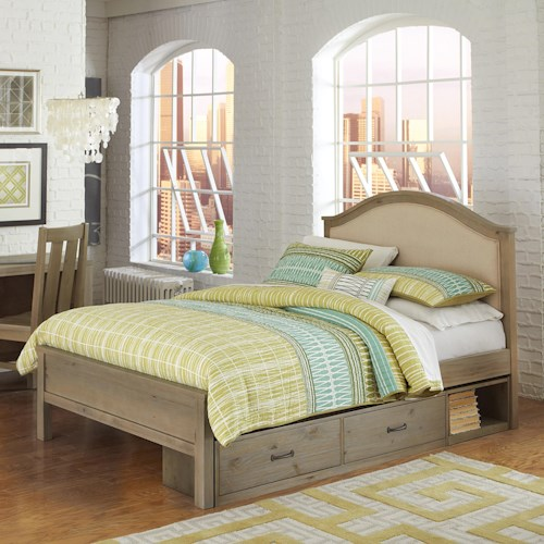 NE Kids Highlands Full Bailey Bed with Cream Upholstered Headboard and Under Bed Storage