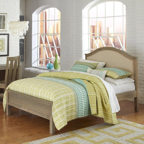 NE Kids Highlands Full Bailey Arch Bed with Cream Upholstered Headboard