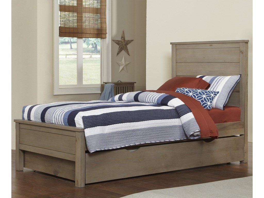 NE Kids HighlandsTwin Alex Flat Panel Bed with Trundle