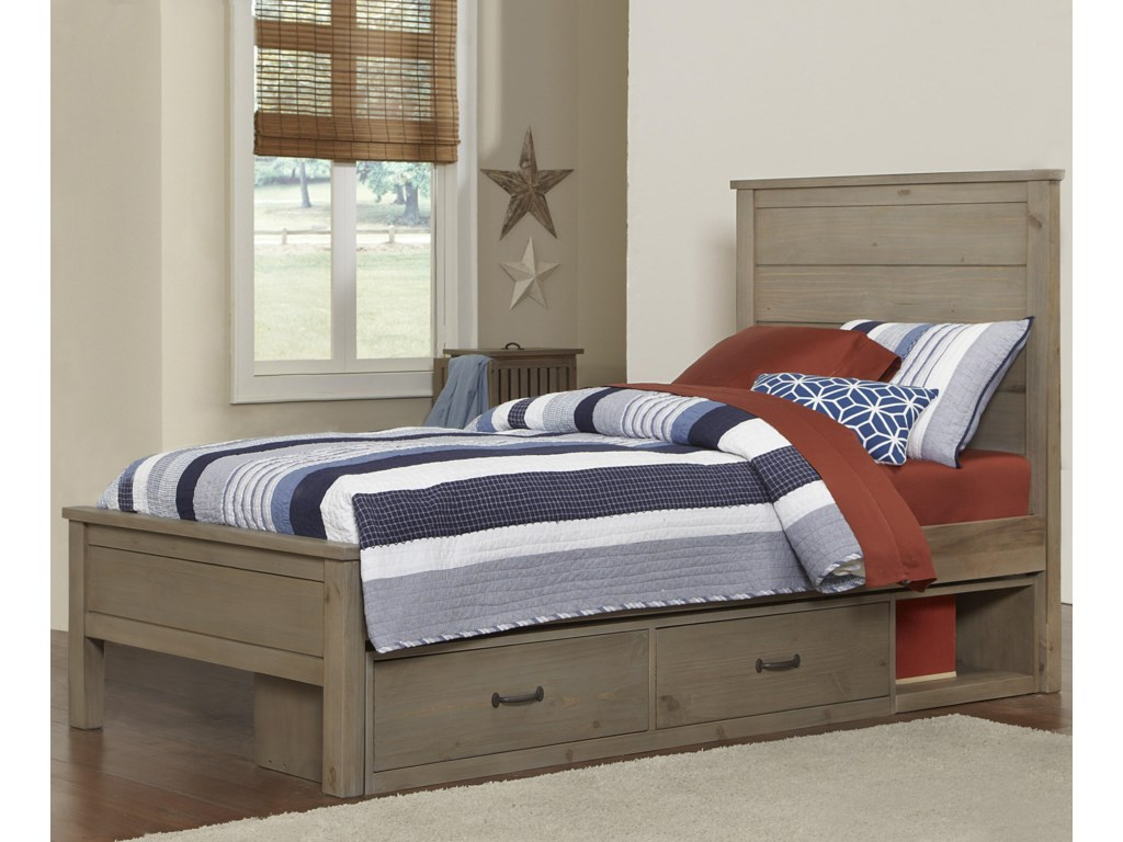 NE Kids HighlandsTwin Alex Flat Panel Bed with Storage