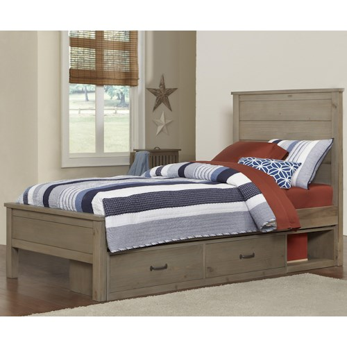 NE Kids Highlands Twin Alex Bed with Flat Panel Headboard and Footboard and Under Bed Storage