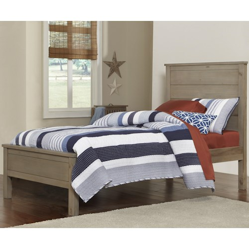 NE Kids Highlands Twin Alex Bed with Flat Panel Headboard and Footboard